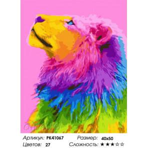Сложность и количество цветов Красочная грива льва Раскраска картина по номерам на холсте PK41067