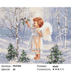 Сложность и количество цветов Ангелочек и зимняя пташка Раскраска картина по номерам на холсте PK41056