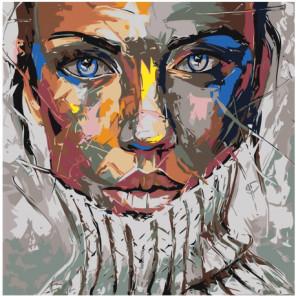 Радужная девушка в свитере 80х80 Раскраска картина по номерам на холсте