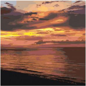Морской закат 80х80 Раскраска картина по номерам на холсте