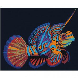 Радужная рыбка мандаринка 80х100 Раскраска картина по номерам на холсте
