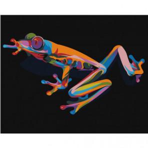Радужная лягушка 100х125 Раскраска картина по номерам на холсте