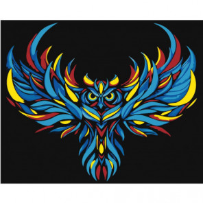 Радужная сова Раскраска картина по номерам на холсте