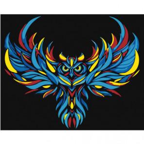 Радужная сова 100х125 Раскраска картина по номерам на холсте