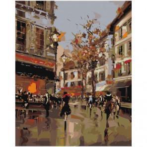 Парижские улочки Раскраска картина по номерам на холсте