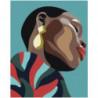 Чернокожая девушка с сережкой Раскраска картина по номерам на холсте