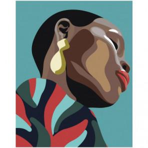 Чернокожая девушка с сережкой 80х100 Раскраска картина по номерам на холсте