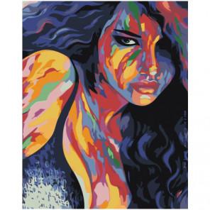Радужная разноцветная девушка 80х100 Раскраска картина по номерам на холсте