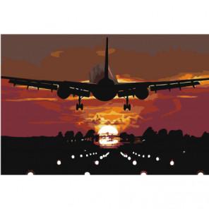 Самолет над взлетной полосой Раскраска картина по номерам на холсте