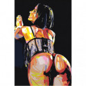 Обнаженная девушка на черном фоне Раскраска картина по номерам на холсте