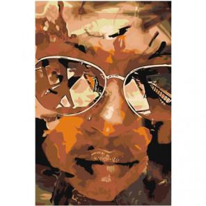 Лицо девушки в очках Раскраска картина по номерам на холсте