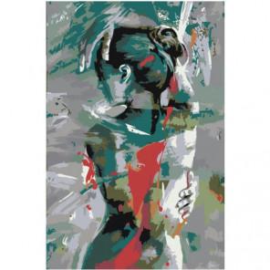 Женская фигура в бирюзовых оттенках Раскраска картина по номерам на холсте