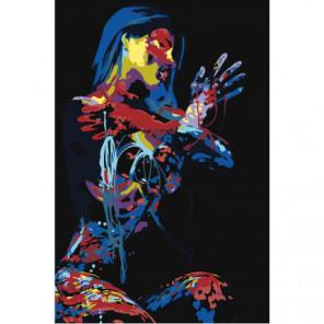 Разноцветная радужная девушка на черном фоне Раскраска картина по номерам на холсте