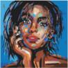 Лицо девушки на синем фоне 80х80 Раскраска картина по номерам на холсте