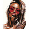 Девушка в красных очках Раскраска картина по номерам на холсте