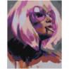 Блондинка в фиолетовых тонах Раскраска картина по номерам на холсте