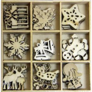 Рождество Набор деревянных декоративных элементов для скрапбукинга, кардмейкинга Рукоделие