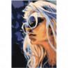 Девушка блондинка в очках 100х150 Раскраска картина по номерам на холсте