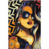 Девушка в черных очках с кольцом 80х120 Раскраска картина по номерам на холсте