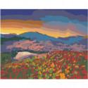 Горы и цветочный луг на закате Раскраска картина по номерам на холсте