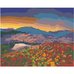 Горы и цветочный луг на закате 80х100 Раскраска картина по номерам на холсте