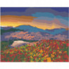 Горы и цветочный луг на закате 100х125 Раскраска картина по номерам на холсте