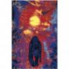 Пантера на абстрактном закате Раскраска картина по номерам на холсте