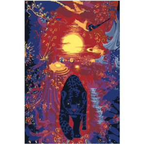 Пантера на абстрактном закате 100х150 Раскраска картина по номерам на холсте