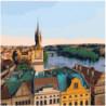 Вид на Прагу 80х80 Раскраска картина по номерам на холсте