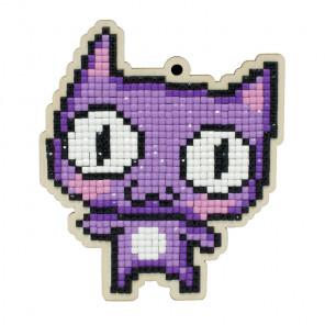 Фиолетовый кот Алмазная мозаика подвеска Гранни Wood W0363