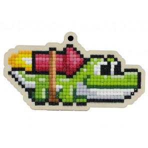Крокодильчик Алмазная мозаика подвеска Гранни Wood W0361