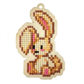 Крольчонок Алмазная мозаика подвеска Гранни Wood W0404