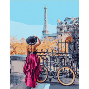 Велосипедный маршрут по Парижу Раскраска картина по номерам на холсте
