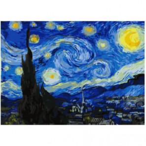 Звездная ночь (Ван Гог) Раскраска картина по номерам на холсте
