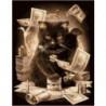 Денежный кот Раскраска картина по номерам на холсте