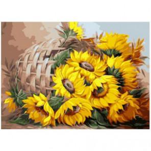 Цветы солнца Раскраска картина по номерам на холсте