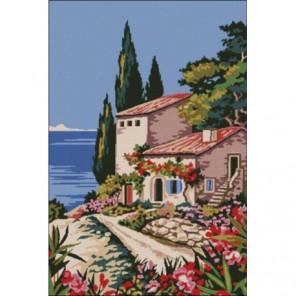 Средиземноморский пейзаж Раскраска картина по номерам на холсте