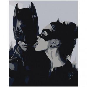 Бэтмен и женщина-кошка черно-белая Раскраска картина по номерам на холсте
