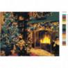 Рождество у камина Раскраска картина по номерам на холсте
