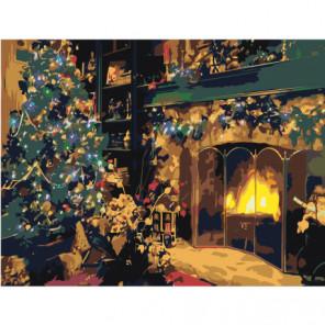 Рождество у камина 60х80 Раскраска картина по номерам на холсте