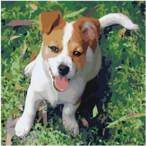 Веселый щенок Раскраска картина по номерам на холсте