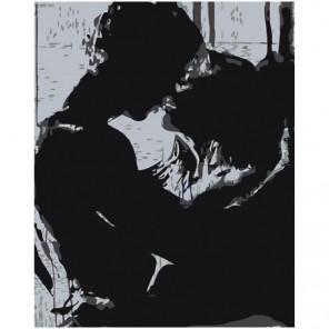 Поцелуй в черно-белых тонах 80х100 Раскраска картина по номерам на холсте