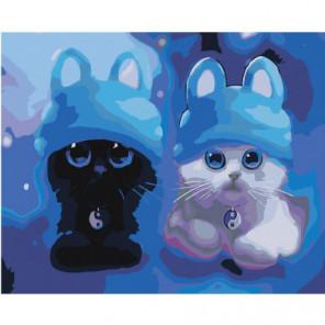 Котята в синих шапочках Раскраска картина по номерам на холсте