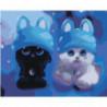 Котята в синих шапочках 100х125 Раскраска картина по номерам на холсте