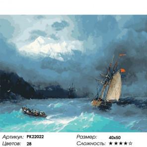 Сложность и количество цветов Бурное море Раскраска картина по номерам на холсте PK22022