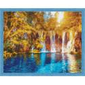 Осенний водопад Алмазная мозаика на подрамнике QA204014
