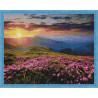 Цветущее поле на закате Алмазная мозаика на подрамнике