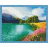 Цветущее поле у озера Алмазная мозаика на подрамнике