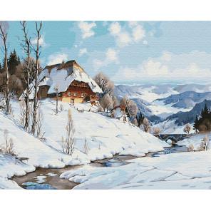 Зимний дом у реки Раскраска картина по номерам на холсте Z-GX31641