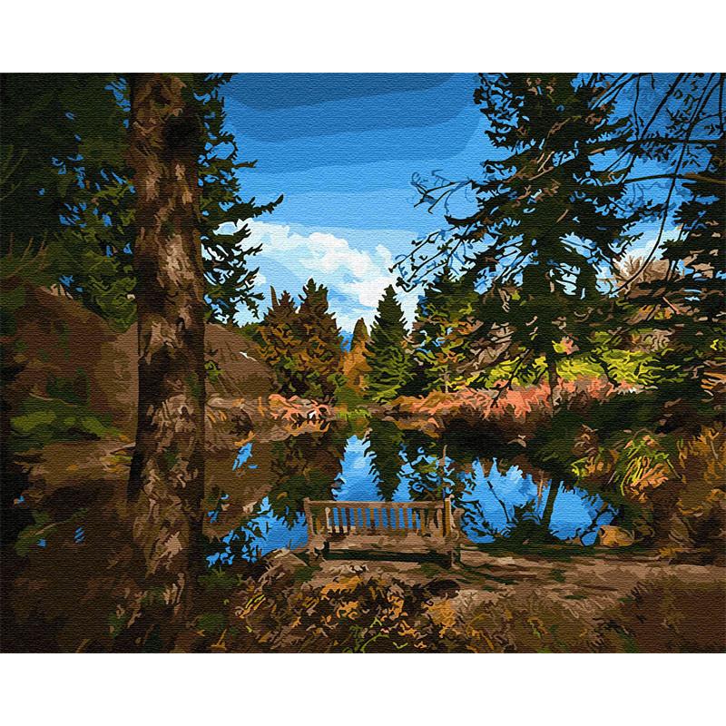 Z-GX30938 Лавочка у озера Раскраска картина по номерам на ...